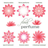 Ρόδινος-λουλούδι-σύνολο-λογότυπο-εικονίδιο-floral-άρωμα Στοκ Φωτογραφίες