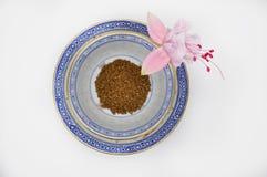 Ρόδινος φούξια και μαύρος στιγμιαίος καφές λουλουδιών σε ένα μικρά φλυτζάνι και ένα πιατάκι στοκ φωτογραφία με δικαίωμα ελεύθερης χρήσης