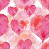 Ρόδινο άνευ ραφής σχέδιο των καρδιών για το βαλεντίνο Στοκ Εικόνα