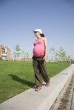 Ρόδινο έγκυο περπάτημα στο πάρκο Στοκ εικόνες με δικαίωμα ελεύθερης χρήσης