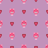 Ρόδινο γατάκι με το διάνυσμα αγάπης patterm Στοκ φωτογραφίες με δικαίωμα ελεύθερης χρήσης