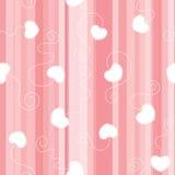 Ρόδινο επίπεδο ριγωτό άνευ ραφής υπόβαθρο με τις άσπρες δεμένες καρδιές Στοκ φωτογραφία με δικαίωμα ελεύθερης χρήσης