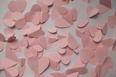ρόδινο λευκό βαλεντίνων καρδιών διακοσμήσεων ανασκόπησης Στοκ Φωτογραφίες