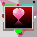 ρόδινο διάνυσμα απεικόνισης καρδιών πλαισίων Στοκ Φωτογραφίες