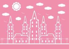 Ρόδινο κάστρο στην πόλη με τα πουλιά και σύννεφο ήλιων για το υπόβαθρο Στοκ Εικόνες