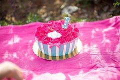Ρόδινο κέικ συντριβής κέικ με τα μπλε και άσπρα λωρίδες Στοκ εικόνες με δικαίωμα ελεύθερης χρήσης