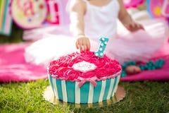 Ρόδινο κέικ συντριβής κέικ με τα μπλε και άσπρα λωρίδες Στοκ φωτογραφίες με δικαίωμα ελεύθερης χρήσης