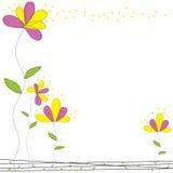 Ρόδινο και κίτρινο διάνυσμα καρτών κήπων λουλουδιών doodle Στοκ Φωτογραφία