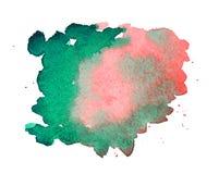 Ρόδινο και πράσινο σημείο watercolor Στοκ Φωτογραφίες