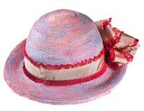 Ρόδινο καπέλο θερινού αχύρου γυναικών Στοκ εικόνες με δικαίωμα ελεύθερης χρήσης
