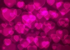 Ρόδινο καρδιών bokeh υπόβαθρο διακοπών υποβάθρου διανυσματικό, αφηρημένο Στοκ Εικόνες