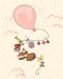 Ρόδινο μπαλόνι με τα τρόφιμα διανυσματική απεικόνιση