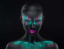 Ρόδινο μπλε διάστημα χρωμάτων μαυρισμένων ματιών Makeup κοριτσιών Στοκ Φωτογραφίες