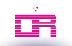 ρόδινο πορφυρό διάνυσμα λογότυπων επιστολών αλφάβητου λωρίδων γραμμών του Δρ d r templ Στοκ Εικόνες