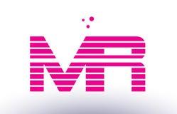 ρόδινο πορφυρό διάνυσμα λογότυπων επιστολών αλφάβητου λωρίδων γραμμών του κ. m r templ Στοκ Φωτογραφίες