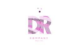 ρόδινο πορφυρό vecto προτύπων εικονιδίων γραμμών λογότυπων επιστολών του Δρ d r alphabet Στοκ Εικόνα