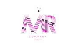 ρόδινο πορφυρό vecto προτύπων εικονιδίων γραμμών λογότυπων επιστολών του κ. m r alphabet Στοκ Φωτογραφίες
