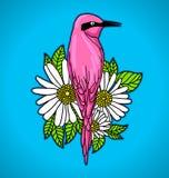 Ρόδινο πουλί μεταξύ των άσπρων λουλουδιών διανυσματική απεικόνιση