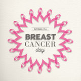 Ρόδινο σχέδιο κορδελλών ημέρας καρκίνου του μαστού για την υποστήριξη διανυσματική απεικόνιση