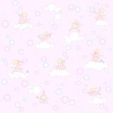 Ρόδινο σχέδιο με τους αγγέλους, τα σύννεφα και τις φυσαλίδες Στοκ εικόνα με δικαίωμα ελεύθερης χρήσης