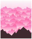Ρόδινο τοπίο βουνών διανυσματική απεικόνιση