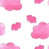 Ρόδινο υπόβαθρο σύννεφων watercolor Χρωματισμένο χέρι σύννεφο στο λευκό Στοκ φωτογραφίες με δικαίωμα ελεύθερης χρήσης