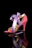 Ρόδινο υψηλό βαλμένο τακούνια γυναικείο παπούτσι Στοκ φωτογραφία με δικαίωμα ελεύθερης χρήσης
