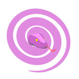 Ρόδινο φίδι Το επικίνδυνο θηλυκό ερπετό κατσάρωσε επάνω σε μια σφαίρα Vect διανυσματική απεικόνιση