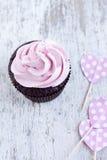 Ρόδινο cupcake Στοκ εικόνα με δικαίωμα ελεύθερης χρήσης