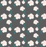 Ρόδινο floral άνευ ραφής σχέδιο στο γκρίζο υπόβαθρο Στοκ φωτογραφία με δικαίωμα ελεύθερης χρήσης