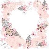 Ρόδινο Floral υπόβαθρο καρδιών Στοκ Εικόνες