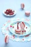 Ρόδινο Macarons που γεμίζουν με την κόκκινη στάρπη μούρων στοκ φωτογραφία