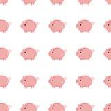 Ρόδινο piggy άνευ ραφής σχέδιο τραπεζών piggy λευκό τραπεζών ανασκόπη&sigm Στοκ εικόνα με δικαίωμα ελεύθερης χρήσης