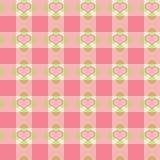 ρόδινο plaid καρδιών Στοκ φωτογραφία με δικαίωμα ελεύθερης χρήσης