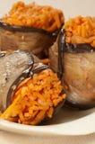 Ρόλοι μελιτζανών με το καρότο Στοκ Εικόνες