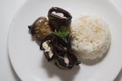Ρόλοι μελιτζανών με το ρύζι Στοκ Εικόνες
