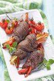 Ρόλοι μπριζόλας με τα λαχανικά Στοκ φωτογραφία με δικαίωμα ελεύθερης χρήσης