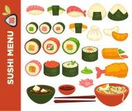 Ρόλοι σουσιών και ιαπωνικά διανυσματικά εικονίδια κουζίνας για τις επιλογές εστιατορίων ελεύθερη απεικόνιση δικαιώματος