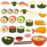 Ρόλοι σουσιών και sashimi ιαπωνικά εικονίδια επιλογών εστιατορίων κουζίνας διανυσματικά απεικόνιση αποθεμάτων