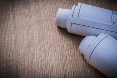 Ρόλοι σχεδιαγραμμάτων στην ξύλινη έννοια κατασκευής άποψης πινάκων τοπ Στοκ Φωτογραφίες