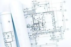 Ρόλοι των αρχιτεκτονικών σχεδιαγραμμάτων στο τεχνικό σχέδιο του σπιτιού Στοκ φωτογραφίες με δικαίωμα ελεύθερης χρήσης