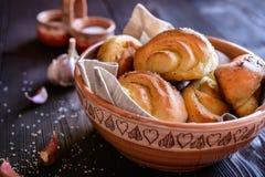 Ρόλοι ψωμιού σκόρδου Στοκ Εικόνες