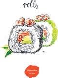 Ρόλοι Watercolor διανυσματική απεικόνιση