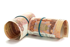 Ρόλος των ρωσικών χρημάτων με τη λαστιχένια ζώνη Στοκ Φωτογραφία