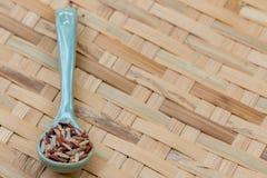 Ρύζια μιγμάτων στο μπλε κουτάλι, στο αλώνισμα του καλαθιού Στοκ Εικόνες