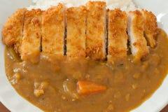 Ρύζι κάρρυ με cutlet χοιρινού κρέατος Στοκ Εικόνες