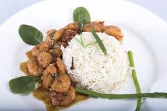 Ρύζι και γαρίδες γεύματος διατροφής Στοκ εικόνα με δικαίωμα ελεύθερης χρήσης