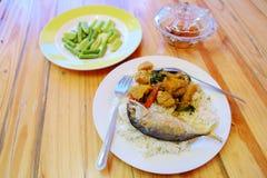 Ρύζι και κάρρυ, ταϊλανδικά τρόφιμα στοκ εικόνα με δικαίωμα ελεύθερης χρήσης