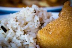 Ρύζι και τηγανισμένα ψάρια Στοκ Εικόνα