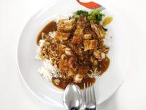 Ρύζι και τηγανισμένο τρίξιμο χοιρινού κρέατος Στοκ Φωτογραφίες